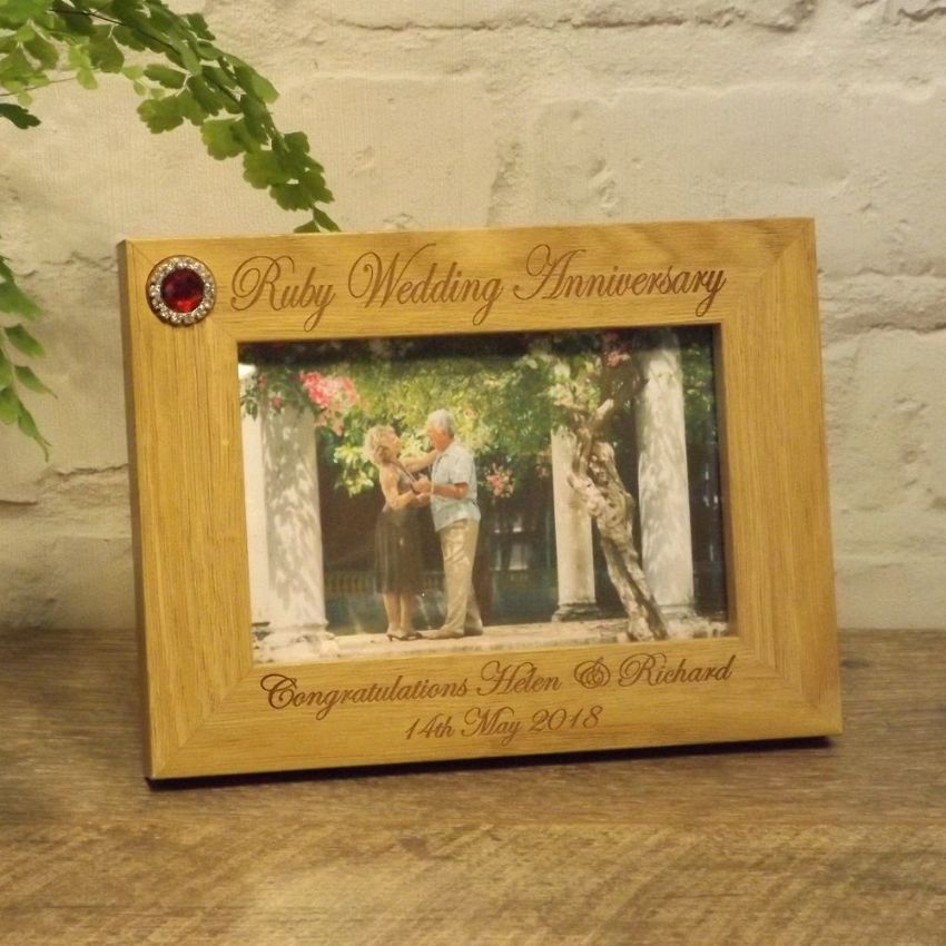 Personalised 40th Ruby Wedding Anniversary Photo Frame 7x5